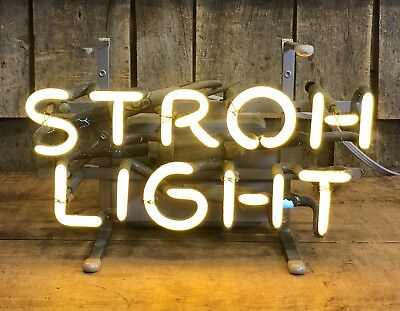 Vintage Original STROH LIGHT Beer Brewery Bar Pub Neon Advertising Sign