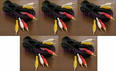 5 Pack 6Ft 3-RCA Composite Audio Video AV Gold Plated Cable Male to Male 6 Foot