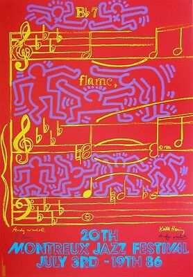 Keith Haring & Andy Warhol Montreux Jazz Festival Signed Color Silkscreen