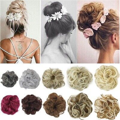 US Real Natural Curly Messy Bun Hair Piece Scrunchie Hair Extensions for human Z