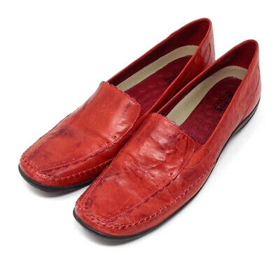 Walking Cradles Shoes Womens Tippy Red Leather Slip On Comfort Loafers 10S (Nar)