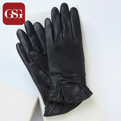 GSG New Ladies Real Goat Nappa Leather Gloves with Bow Knot - BLACK - Size 6.5