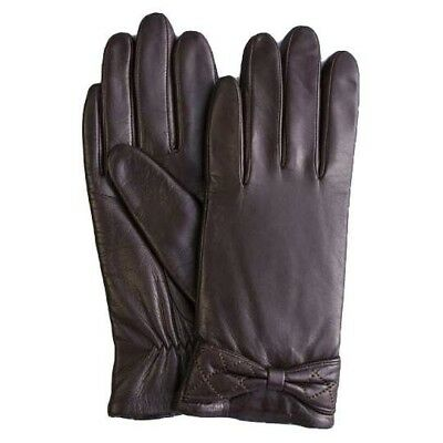 GSG Ladies Winter Small Bow Knot Sheep Skin Leather Gloves -  DARK BROWN-Size 8
