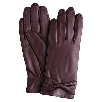 GSG Ladies Winter Small Bow Knot Sheep Skin Leather Gloves - BORDEAUX Size 7.5