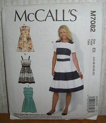 3a972f6f WOMENS/MISSES FITTED BODICE Dresses Sewing Pattern/McCall's M7082/SZ  14-22/UCN