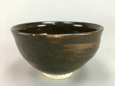Japanese Tea Ceremony Bowl Chawan Vtg Pottery Brown Ceramic GTB317