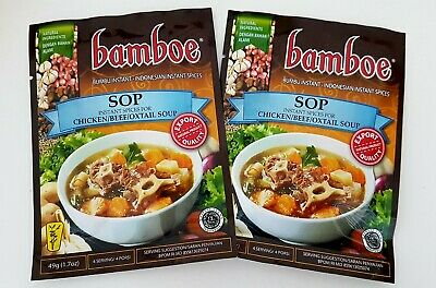 2X Bamboe Sop Instant Spices Seasoning Beef Chicken Oxtail Soup 49g