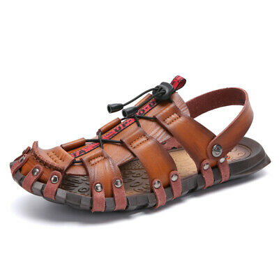Men's Outdoor Closed Toe Hiking Shoes Leather Sandals Summer Camping Fisherman