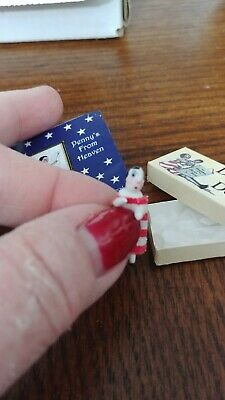 "miniature 1"" hand made hitty Peg Penny doll in box w mini readable book LOOK!"