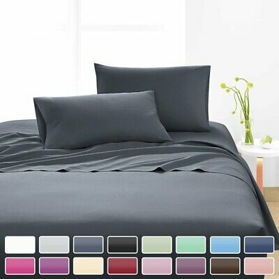 Ultra SOFT - 4 Pcs FLAT & FITTED Sheet Set Single/Queen/King Size Bed Pillowcase