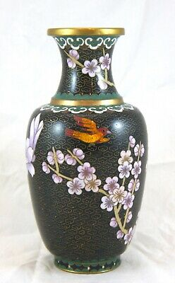 """Chinese Cloisonne Vase. Copper Brass Black w Red Bird, Peonies, Plum Blossoms 8"""""""