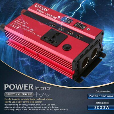 3000W Solar Power Inverter DC 24V to AC 220V LED Display Sine Wave Converter