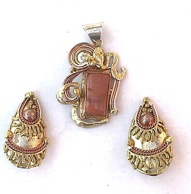 MEXICAN MODERNIST Set Aventurine Pendant & Clip On Earrings ABSTRACT BRUTALIST