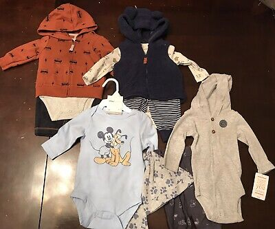 Infant Baby Boy 3 Month Carters Disney Clothes Outfits & Sets Lot Hoodie Mickey