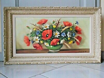 """Vintage French OIL PAINTING  signed SURGEON 1950's   28"""" L"""