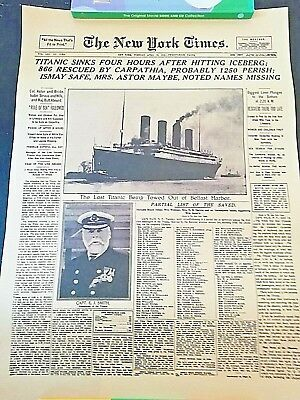The New York Times History Poster Titanic Shipwreck  Newspaper Retro Kraft Paper