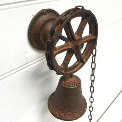 Cast Iron Nautical Ship Wheel And Chain Door Bell Coat Hat Wall Hanging