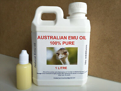 Emu Oil (1 Litre And Free 30Ml) 100% Pure *Cheapest* Free Shipping/Free Postage