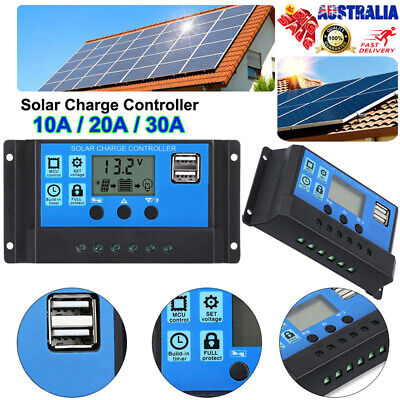30A 12V/24V Solar Panel Battery Regulator Charge Controller LCD USB 30AMP PWM