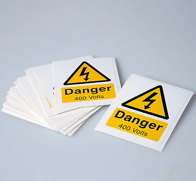 DANGER 400 VOLTS SELF ADHESIVE VINYL WARNING LABELS - PACK OF 25 (55mm x 70mm)