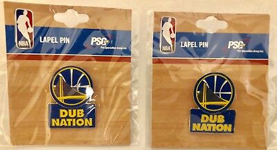 """A Lot Of (2) Nba Golden State Warriors """"dub Nation"""" Lapel Pins (Nwt)"""