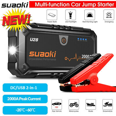 2000A 12V Car Jump Starter Start Battery Booster Charger Power Bank Rescue Pack