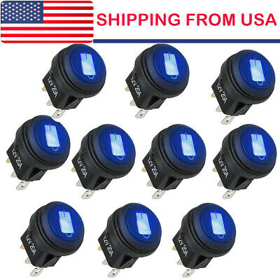 10* ROCKER SWITCHES 12V ROUND TOGGLE ON/OFF 20A CAR SNAP IN SWITCH Blue LED
