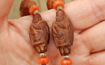 "Antique Carved Chinese 18 Immortal Hediao Nut Salmon Coral 28"" Inch Necklace"