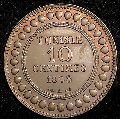 Tunisia 1908 (1326) Bronze 10 Centimes 9.4g  High Quality!!