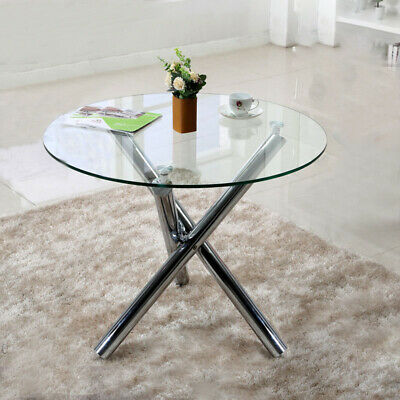 fa214183a48 Round Tempered Glass Dining Table Clear Metal Chrome Legs Garden Outdoor  Indoor