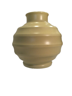 KEITH MURRAY Wedgwood Football Vase in Straw Matte, MED. Shape 3765, Marked, 40s