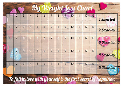 Weight Loss Chart - 5 stone - 1 Sheet of stickers - Coloured Hearts - Slimming