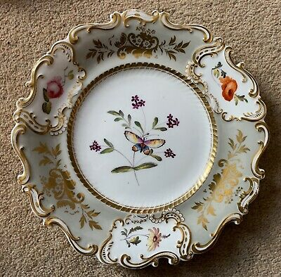 RARE ENGLISH PORCELAIN DESSERT PLATE PAINTED WITH BUTTERFLIES AND FLOWERS c.1840
