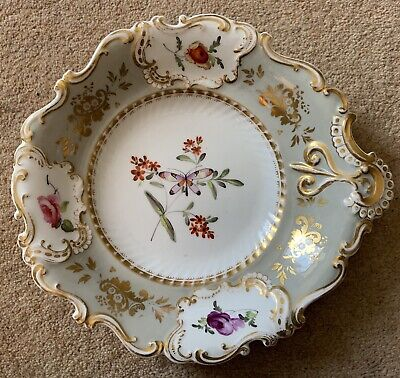 RARE ENGLISH PORCELAIN DESSERT DISH PAINTED WITH BUTTERFLIES AND FLOWERS c.1840