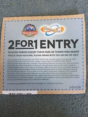 2 for 1 Entry to Alton Towers or Thorpe Park Voucher - Expires 31/05/2019