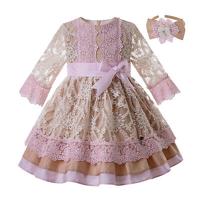 Girls Summer Long Sleeve Lace O-Neck Party Dresses Flower Spanish Outfits 2-12Y