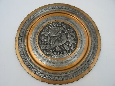 Copper And Pewter Tray Wall Hanging Depicting Birds 29.5 cms Diameter