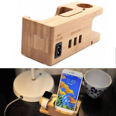 Bamboo Charging Dock Station Charger Holder Stand For Apple iWatch iPhone New AU