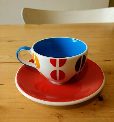Whittard of Chelsea Hand Painted Multicoloured Espresso Cup & Saucer