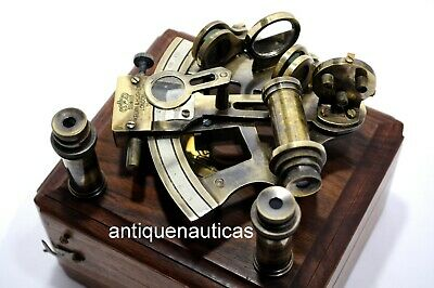Antique Brass kelvin & hughes london 1917 SEXTANT Vintage Nautical W/Wooden Box