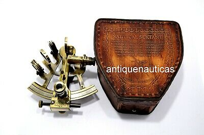 kelvin & hughes london 1917 SEXTANT Vintage Antique Brass Nautical W/leather Box