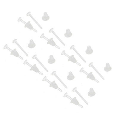 10/20/50X Invisible Clear Plastic Flat Blank Pad Earring Nail Pin Ear Post Stud