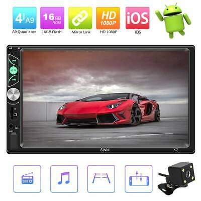"7"" Car Stereo Radio MP5 Player Bluetooth In-Dash USB Mirror Link 2 DIN + Camera"