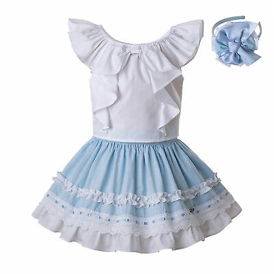 Girl Spanish Sleeveless Blouse+Skirt Set Party Summer Casual Outfits  Age 2-8