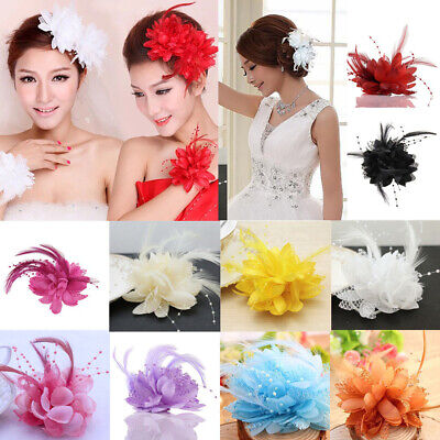 Women Ladies Flower Feather Fascinator Bridal Bead Corsage Hair Clips Hairband