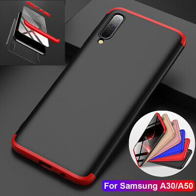 For Samsung Galaxy A30 A50 Case 360° Full Protective Armor Cover+Tempered Glass