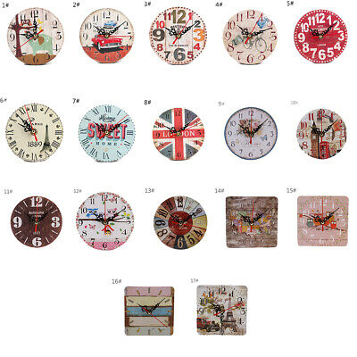 1pc  Extra Large Round Wooden Wall Clock Vintage Retro Antique Distressed Chic