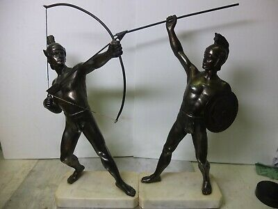 Pair Bronzed Spelter figures. Bowman and Spearman.