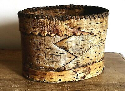 Early 19th Century Native American Birch Bark Container Basket Dated 1835
