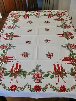 """Vintage Cotton Print Tablecloth Holiday Christmas Rect. 52X68"""" 1950s Excellent"""